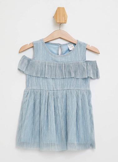DeFacto Kız Bebek Fırfır Detaylı Elbise Mavi